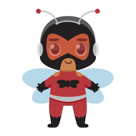Isolated Cute kawaii kid superhero bee colorful- Vector