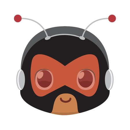 Isolated Cute kawaii kid superhero bee mask colorful- Vector