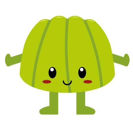 Isolated cute cartoon jelly food eat - Vector