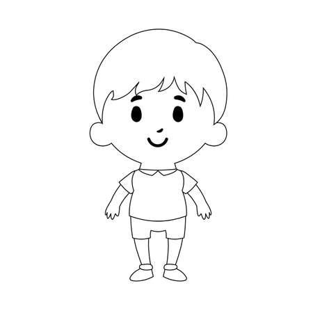 Isolated Cartoon Kid Character european boy draw - Vector