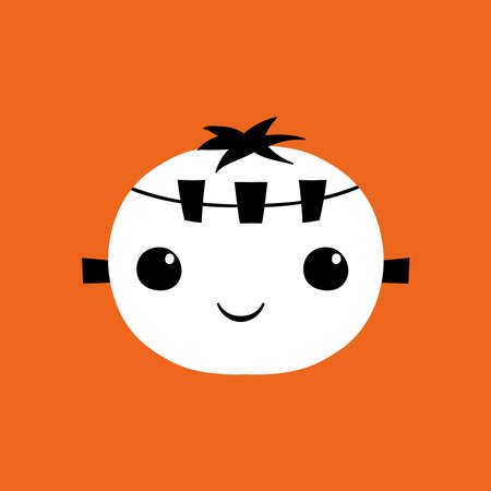 Isolated frankestein kawaii halloween scare cartoon- Vector