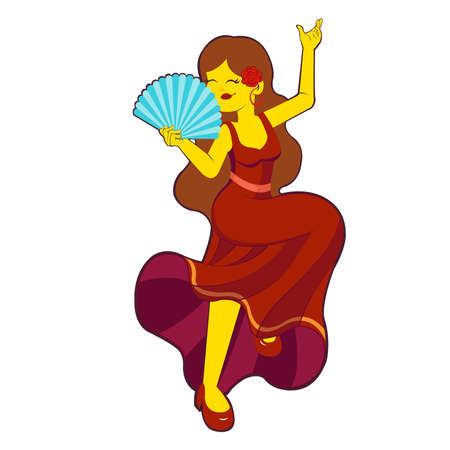 Isolated flamenco dancer. Woman dancing flamenco - Vector