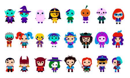 Isolated set of costumes halloween icon - Vector Vetores