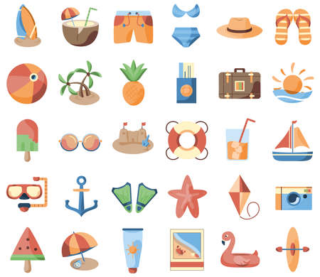 Isolated set group things beach summer holiday icon- Vector 向量圖像