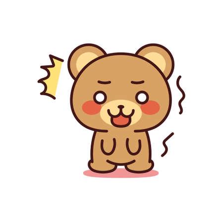 Isolated shocked bear kawaii. Emoji of a bear - Vector Illustration