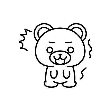 Isolated shocked bear kawaii. Emoji of a bear - Vector 일러스트