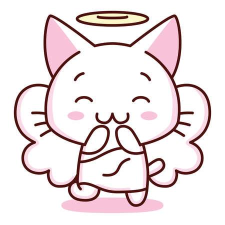 Isolated kitty angel emoji cute sticker icon- Vector