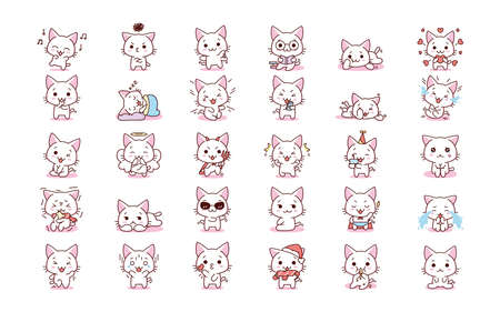 Isolated set complete kitty emoji cute sticker icon- Vector
