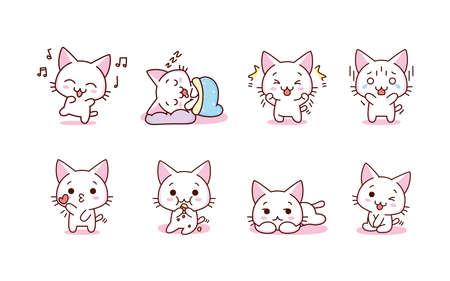 Isolated set kitty happy emoji cute sticker icon- Vector Vettoriali