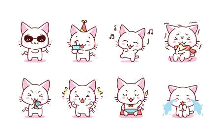 Isolated set kitty holidays emoji cute sticker icon- Vector