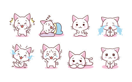 Isolated set kitty emotions emoji cute sticker icon- Vector