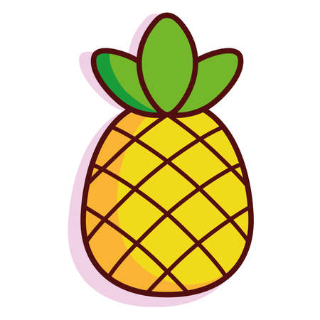 Isolated pinneapple exotic fruit tropical diet icon- Vector