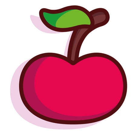 Isolated cherry exotic fruit tropical diet icon- Vector Illusztráció