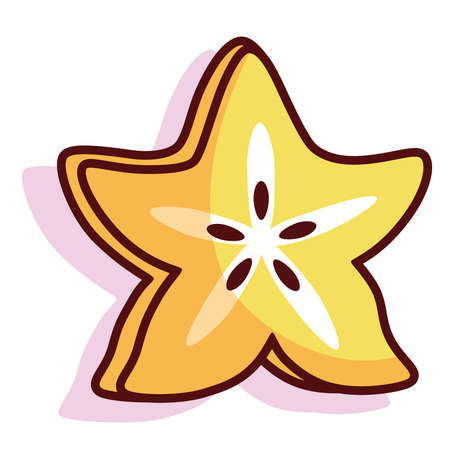 Isolated carambola exotic fruit tropical diet icon- Vector