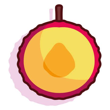 Isolated peach fruit tropical diet icon- Vector Illusztráció