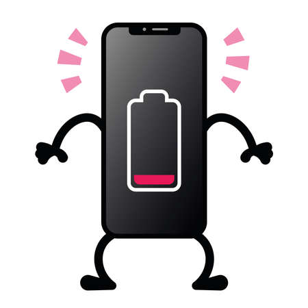 Isolated battery low smartphone emotion emoji icon- Vector