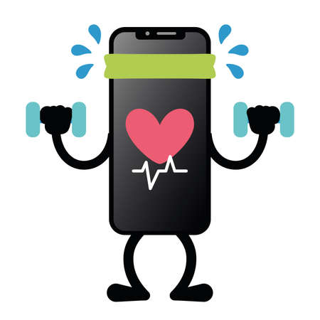 Isolated exercise app smartphone emotion emoji icon- Vector