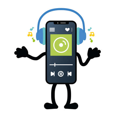 Isolated music app smartphone emotion emoji icon- Vector