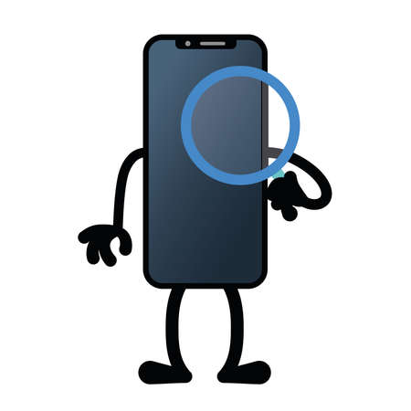Isolated search app smartphone emotion emoji icon- Vector