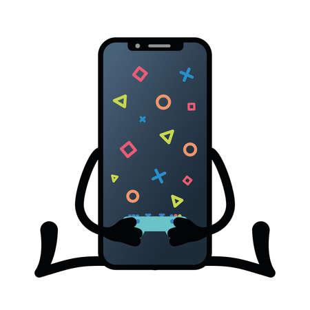 Isolated play app smartphone emotion emoji icon- Vector Иллюстрация