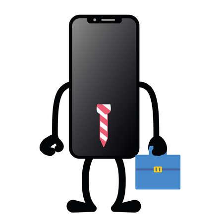 Isolated work app smartphone emotion emoji icon- Vector Иллюстрация