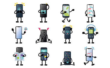 Isolated set group of app smartphone emotion emoji icon- Vector