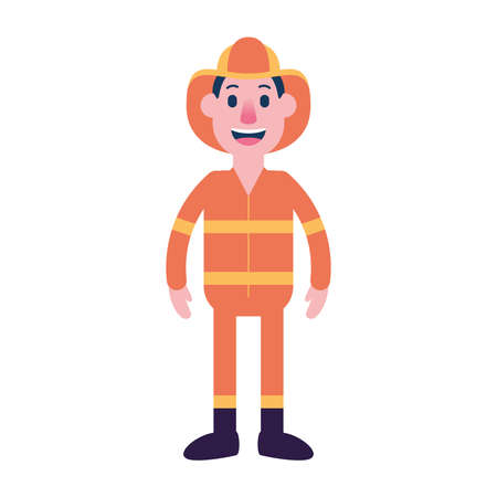 Isolated person fireman people ethnicity icon - Vector