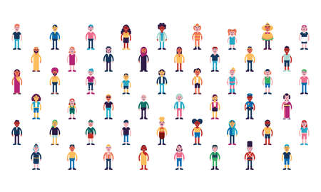 Isolated set complete people ethnicity icon - Vector Vettoriali