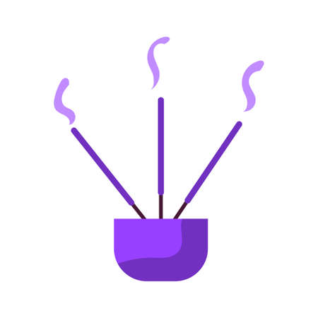 Isolated incense sticks in a pot - Vector