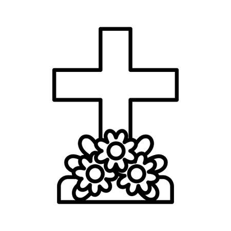 Isolated tombstone icon with flowers - Vector illustration