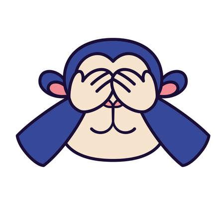 Isolated shy emoji monkey big funny icon - Vector