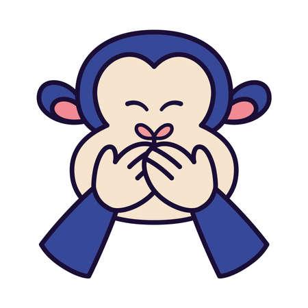 Isolated laugh emoji monkey big funny icon - Vector 矢量图像
