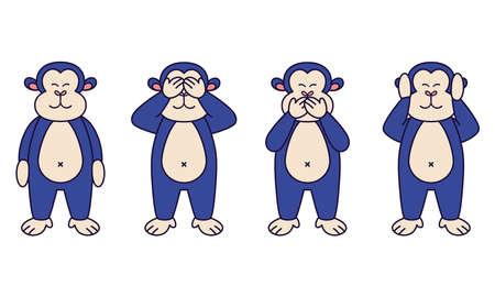 Isolated set face emoji monkey big icon - Vector 矢量图像