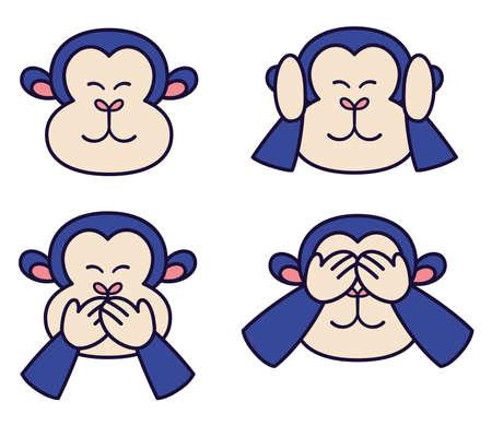 Isolated set body emoji monkey big icon - Vector