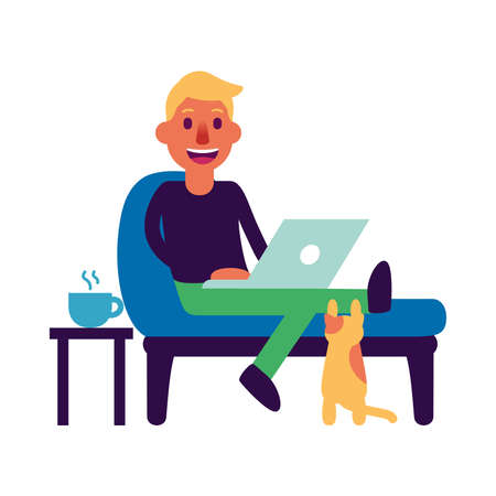 Isolated man workoffice job freelance icon- Vector