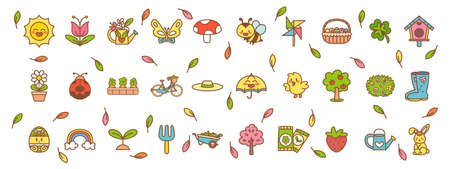 Set of easter and garden icons - Vector