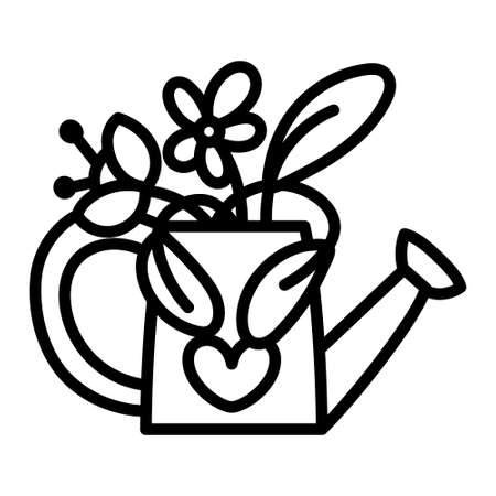Isolated flowers in a watering can - Vector illustration