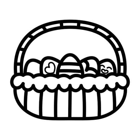 Basket icon with easter eggs - Vector illustration