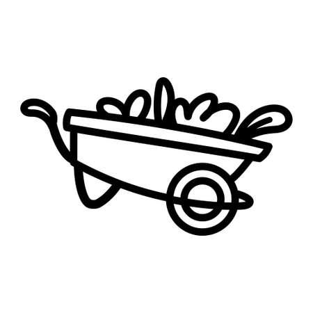 Isolated wheelbarrow with plants - Vector illustration design
