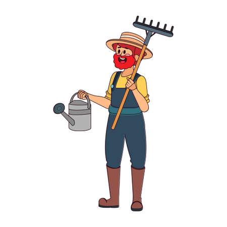 Isolated man with garden tools - Vector illustration Vektoros illusztráció