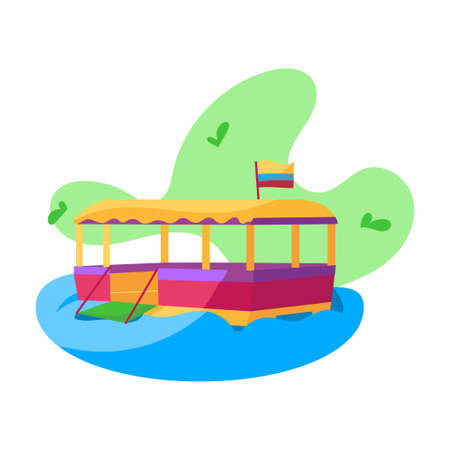 Isolated traditional colombian boat. Transportation in river - Vector