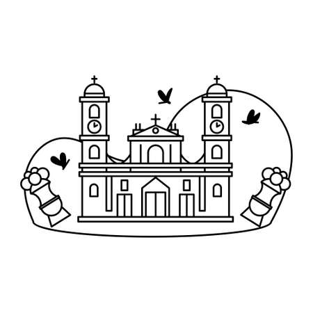 Typical Colombian church or cathedral - Vector illustration