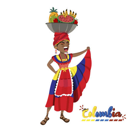 Isolated colombian palenquera woman. Colombian culture - Vector illustration