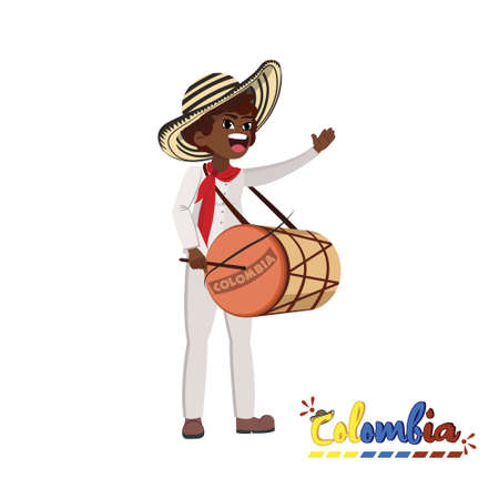 Traditional colombian man playing drum. Colombian culture - Vector illustration