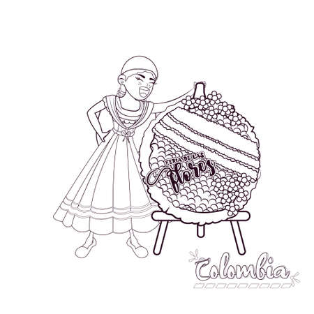 Isolated silletera woman. Colombian culture - Vector illustration