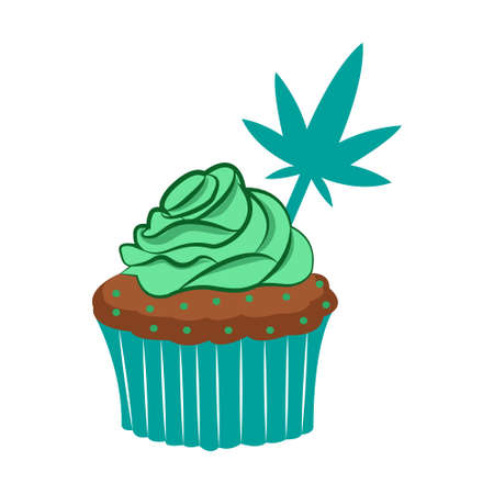 Isolated cannabis happy cupcake icon