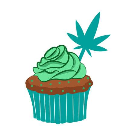 Isolated cannabis happy cupcake icon 向量圖像