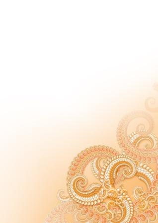 fractals: Orange fractals background for stationery Stock Photo