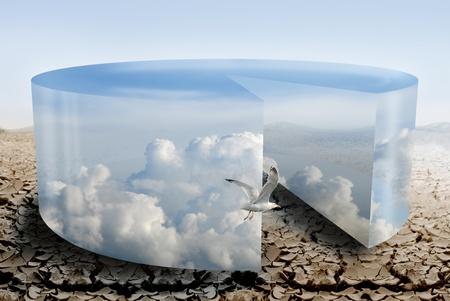 Bewölkt Kreisdiagramm Illustrateds Klimaanlage während der Dürre  Standard-Bild - 9978334