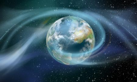 Draadloze energie rondom moederaarde geïllustreerd als een zonnestorm Stockfoto